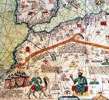 Musa I (c. 1280 - c. 1337), commonly referred to as Mansa Musa, was the tenth mansa, which translates as 'king of kings' or 'emperor', of the Malian Empire. At the time of Mansa Musa's rise to the throne, the Malian Empire consisted of territory formerly belonging to the Ghana Empire and Melle (Mali) and immediate surrounding areas. Musa held many titles, including Emir of Melle, Lord of the Mines of Wangara, and conqueror of Ghanata, Futa-Jallon, and at least another dozen states. He was the wealthiest West African ruler of his day.<br/><br/>  The Catalan Atlas (1375) is the most important Catalan map of the medieval period. It was produced by the Majorcan cartographic school and is attributed to Cresques Abraham, a Jewish book illuminator who was self-described as being a master of the maps of the world as well as compasses. It has been in the royal library of France (now the Bibliothèque nationale de France) since the late 14th century.